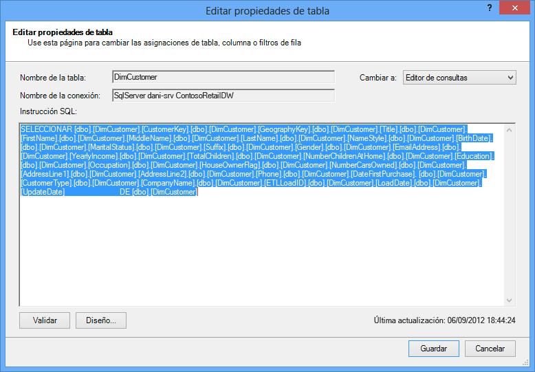 Consulta SQL usada para recuperar los datos