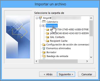 Al importar contactos de Google Gmail en su buzón de Office 365, seleccione Contactos como destino