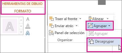 Opción Desagrupar en la ficha Formato en Herramientas de dibujo