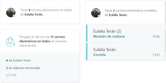 Captura de pantalla de la actividad de correo electrónico MyAnalytics
