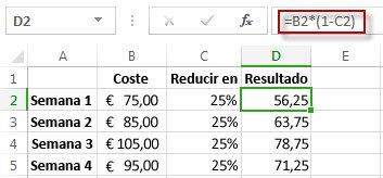Resultados de porcentaje en la columna D