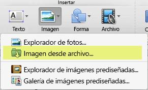 En la pestaña Inicio de la cinta, en Insertar, haga clic en Imagen > Imagen desde archivo.