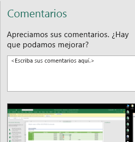 Cuadro de diálogo Comentarios en Excel
