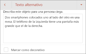 Cuadro de diálogo texto alternativo para una imagen en PowerPoint para Android.