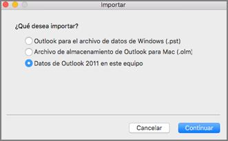 Pantalla de importación con datos de Outlook 2011 en este equipo seleccionado