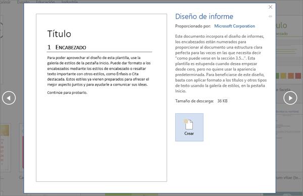 Muestra una vista previa de la plantilla de diseño Informe en Word 2016.