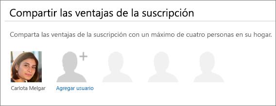 """Captura de pantalla de la sección """"Compartir las ventajas de la suscripción"""" de la página Compartir Office 365, que muestra el vínculo """"Agregar usuario""""."""