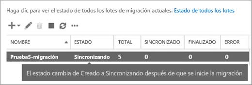El lote de migración se sincroniza.
