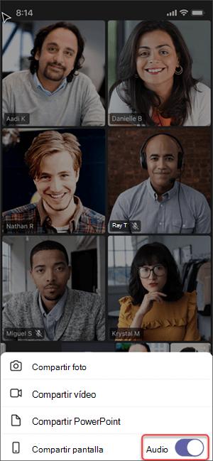 Opción Compartir audio en dispositivos móviles