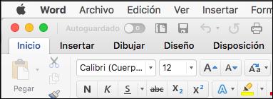 La cinta de opciones en Word para Mac en el tema clásico