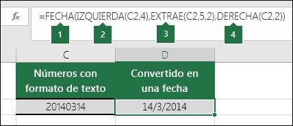 Convertir cadenas de texto y números en fechas