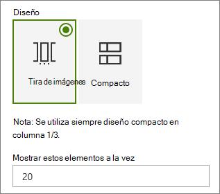 Selección de diseño en el panel de propiedades del elemento Web eventos.