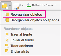 Cambiar el orden de los objetos en el menú Organizar