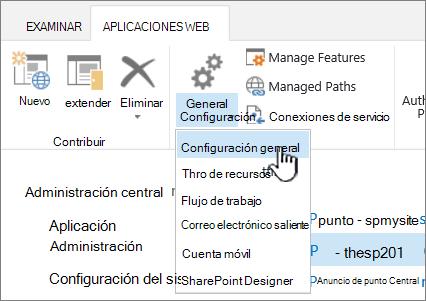 Administrar la sección de la cinta de opciones con configuración General seleccionada
