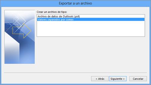 Asistente para exportar de Outlook - Seleccione archivo CSV