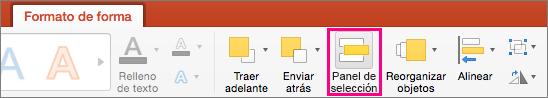 Muestra la pestaña Formato de forma en PowerPoint 2016 para Mac