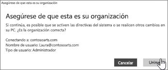 En la página Asegúrate de que esta es tu organización, haga clic en Unirse.