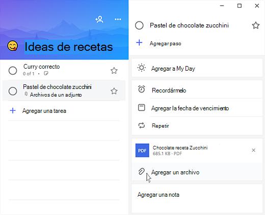 Captura de pantalla de Microsoft to-do con vista detallada abierta y la opción de agregar un archivo resaltado