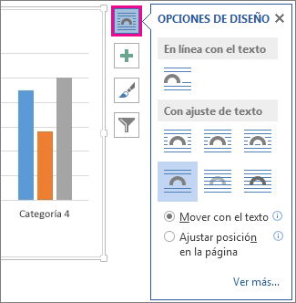 Imagen de las opciones de diseño para los gráficos en Word