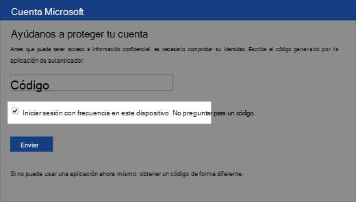 Captura de pantalla del cuadro de diálogo dispositivo de confianza