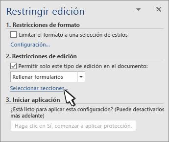 Selector de secciones en el panel Secciones de resrict