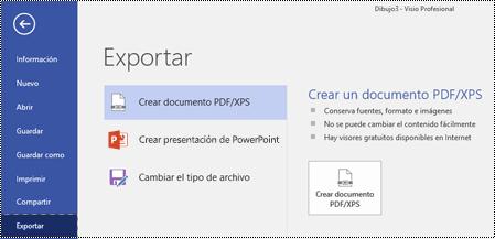 Opción Exportar a PDF en la pestaña Archivo en Visio.