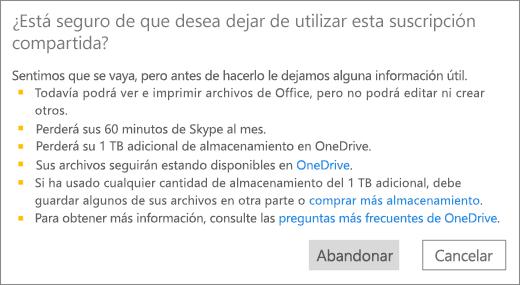 Captura de pantalla del cuadro de diálogo de confirmación que se muestra al dejar de utilizar una suscripción de Office 365 Hogar que alguien ha compartido con usted.