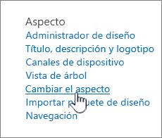 Sección aspecto de configuración del sitio con cambiar el aspecto resaltado