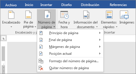 Iniciar la numeración de página más adelante en el documento - Word