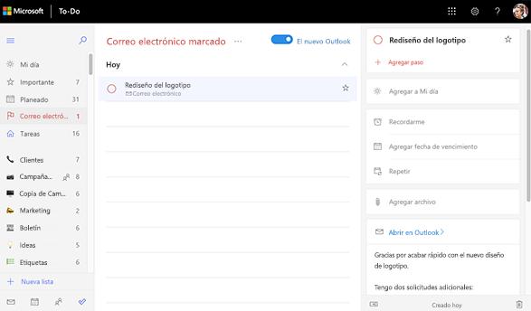 Captura de pantalla de la lista de correos electrónicos marcados que muestra la vista de detalles del rediseño del logotipo de tarea. En la vista de detalles existe la opción de abrir en Outlook, así como una vista previa del texto de correo electrónico.