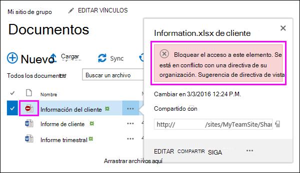 Mostrar sugerencia de directiva bloqueó el acceso a documentos