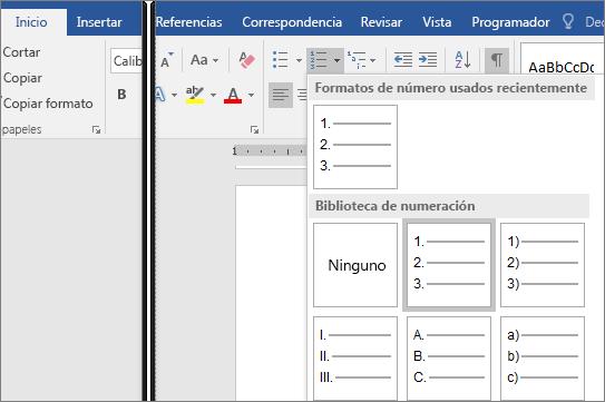 La opción Galería de numeración se muestra en la pestaña Inicio.