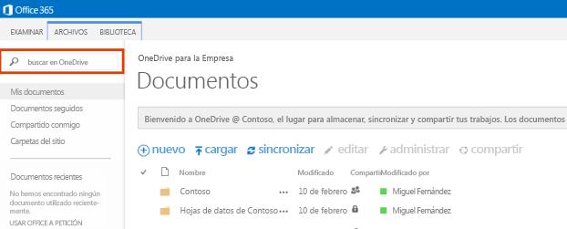 Captura de pantalla del Cuadro de consulta de OneDrive en Office 365.