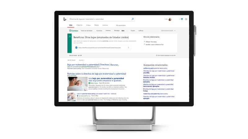 Cómo aparecen los resultados de trabajo en Bing