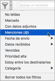 """Use la opción Mencionado en el menú """"Filtrar correo electrónico"""" para buscar correos electrónicos donde se @mencione a su usuario."""