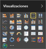 Seleccionar Gráfico de barras apiladas en Visualizaciones en Power BI