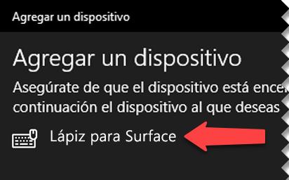 Seleccione el lápiz digital para indicar a Windows que quiere conectarlo con su PC mediante Bluetooth.
