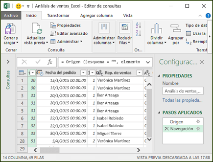 Panel del editor de Power Query