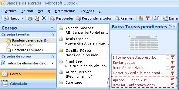 Barra Tareas pendientes de Outlook con cuatro tareas normales y dos tareas de flujo de trabajo adicionales
