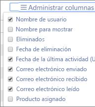 Informes de Office 365: administrar columnas de informes de actividades de correo electrónico