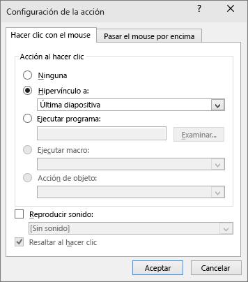 muestra la configuración de la acción en PowerPoint