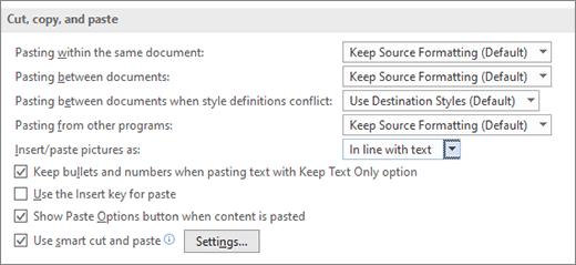 Opciones de copiar y pegar en Word