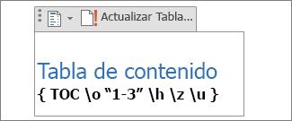 Código de campo de tabla de contenido