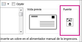 El diagrama de alimentación muestra cómo insertar el sobre en la impresora