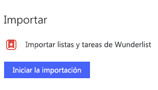 Captura de pantalla de la configuración de tareas pendientes abra en Windows con la opción de importar listas y tareas de Wunderlist seleccionando empezar a importar