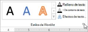 Seleccione el iniciador del cuadro de diálogo Estilos de WordArt