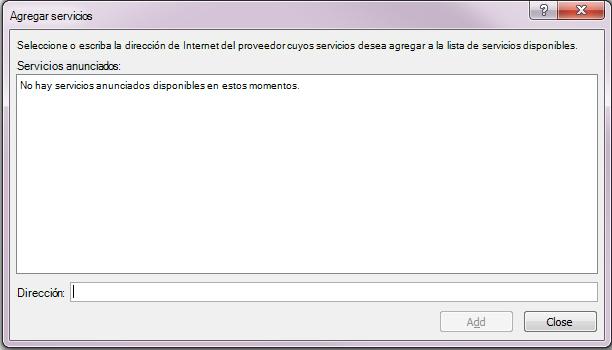 Captura de pantalla del cuadro Agregar servicios, que forma parte de Opciones de referencia