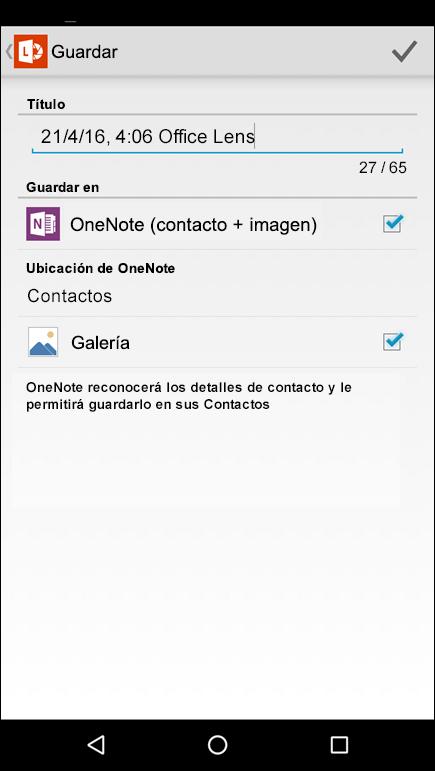 Captura de pantalla de la característica para exportar a contactos en Office Lens para Android.