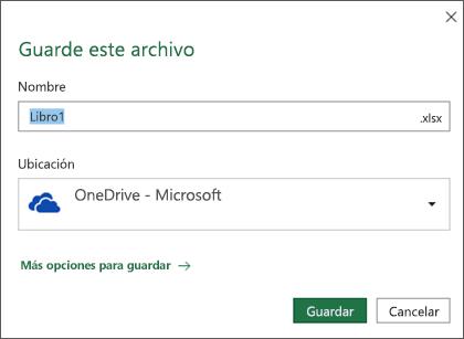 El cuadro de diálogo Guardar archivo en Microsoft Excel para Office 365