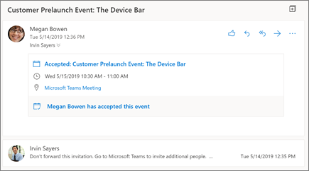 Panel de lectura en Outlook en la web